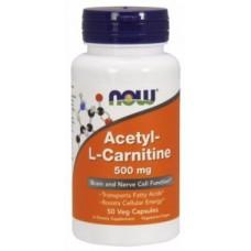 Купить NOW Acetyl-L-Carnitine 500mg 50 вег.капс