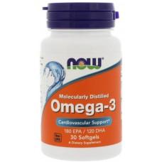Купить NOW Omega-3 Молекулярная дистилляция 30 капс