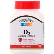Купить 21st Century Vitamin D-3 1000МЕ 110 таб