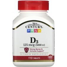 Купить 21st Century Vitamin D-3 125 мкг (5000МЕ) 110 таб