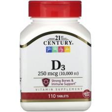 Купить 21st Century Vitamin D-3 250 мкг (10000МЕ) 110 таб