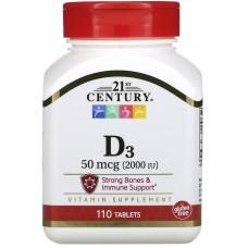 Купить 21st Century Vitamin D-3 50 мкг (2000МЕ) 110 таб