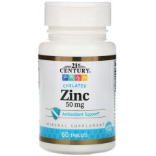 Купить 21st Century Zinc Chelated 50мг 60таб