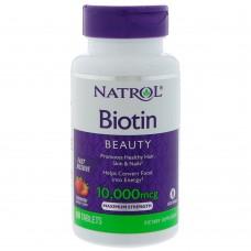 Купить Natrol Biotin 10000мкг 60табл Быстрорастворимые