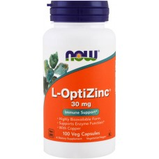 Купить NOW L-OptiZinc 30 мг 100 капс